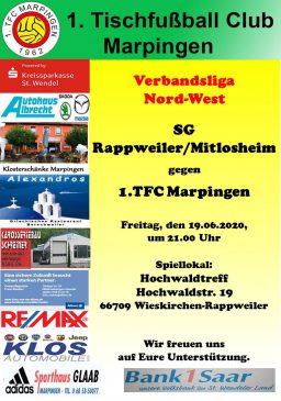 Verbandsliga Nord-West: SG Rappweiler/Mitlosheim - 1.TFC Marpingen @ Hochwaldtreff