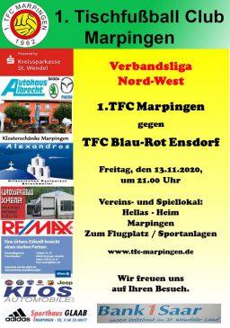 Verbandsliga Nord-West: 1.TFC Marpingen - TFC Blau-Rot Ensdorf @ Hellas-Heim